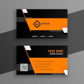 Diseño de tarjeta de visita moderno y elegante en colores negro y naranja