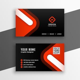 Diseño de tarjeta de visita moderno negro y rojo.