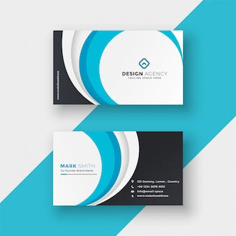 Diseño de tarjeta de visita moderno ondulado azul elegante