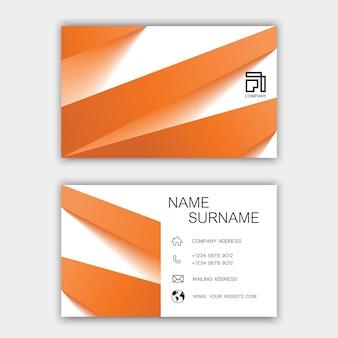 Diseño de tarjeta de visita naranja.