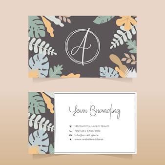 Diseño de tarjeta de visita natural de floristería con diseño de color pastel