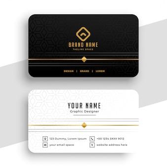 Diseño de tarjeta de visita negra, blanca y dorada limpia