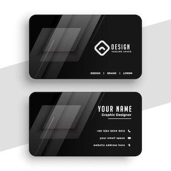 Diseño de tarjeta de visita negra con líneas geométricas.