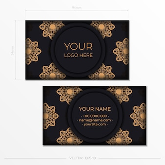 Diseño de tarjeta de visita en negro listo para imprimir con patrones vintage. plantilla de tarjeta de visita con adornos griegos.