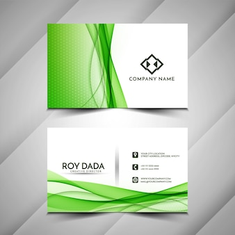 Diseño de tarjeta de visita ondulada verde abstracto