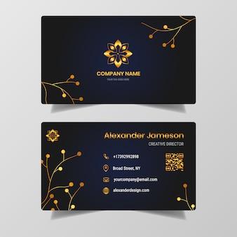 Diseño de tarjeta de visita de oro de lujo