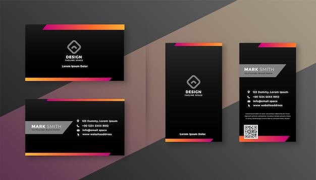 Diseño de tarjeta de visita oscura con forma colorida