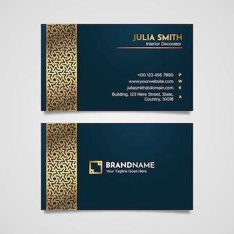 Diseño de tarjeta de visita de plantilla de tarjeta de visita de lujo dorado con adornos