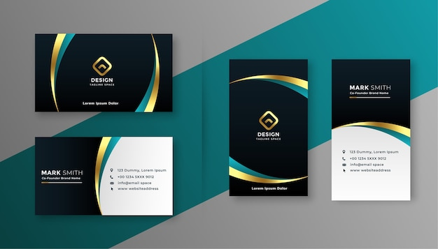 Diseño de tarjeta de visita premium dorado y negro.