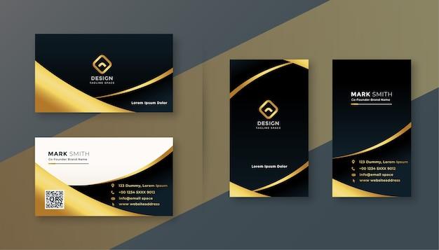 Diseño de tarjeta de visita premium negra y dorada.