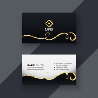 Diseño de tarjeta de visita premium en tema oscuro