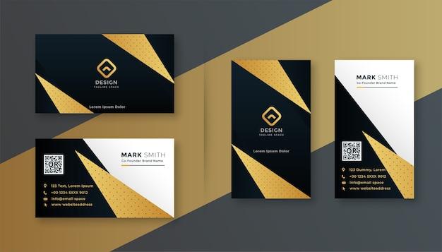 Diseño de tarjeta de visita profesional geométrica negra y dorada.