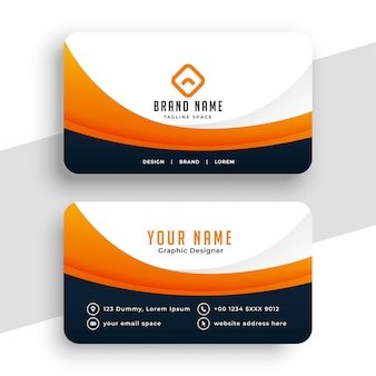 Diseño de tarjeta de visita profesional naranja para empresas