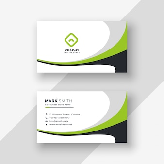 Diseño de tarjeta de visita profesional ondulado verde