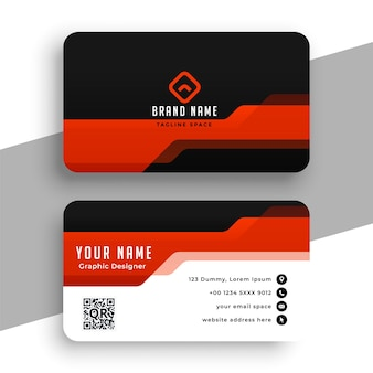 Diseño de tarjeta de visita profesional rojo y negro.