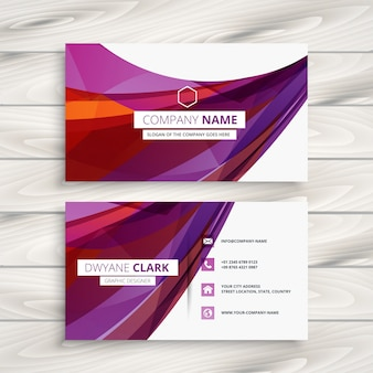 Diseño de tarjeta de visita púrpura abstracto