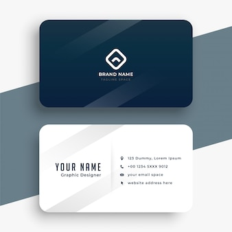 Diseño de tarjeta de visita simple azul oscuro y blanco