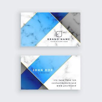 Diseño de tarjeta de visita de textura de mármol azul moderno
