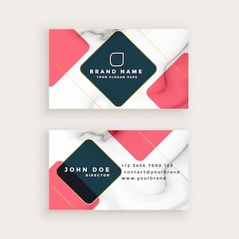 Diseño de tarjeta de visita de textura de mármol creativo