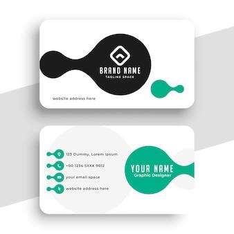 Diseño de tarjeta de visita turquesa y blanca.