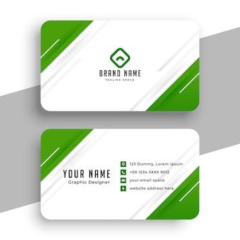 Diseño de tarjeta de visita verde y blanco moderno