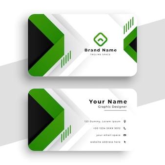 Diseño de tarjeta de visita verde corporativa.
