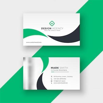 Diseño de tarjeta de visita verde elegante preofessional