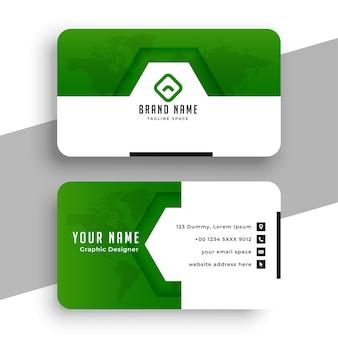 Diseño de tarjeta de visita verde con estilo