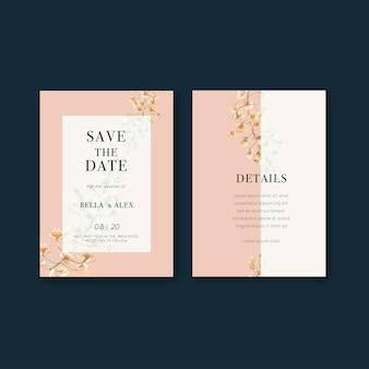 Diseño de tarjetas de boda flores tailandesas