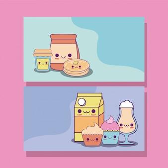 Diseño de tarjetas de etiquetas de comida kawaii