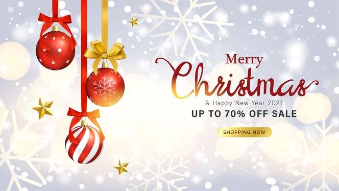 Diseño de tarjetas de felicitación y banner de venta con objetos navideños.