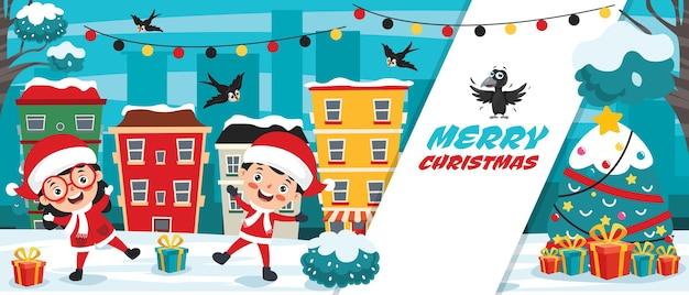 Diseño de tarjetas de felicitación navideñas con personajes de dibujos animados