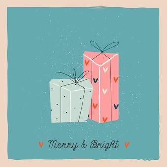 Diseño de tarjetas de felicitación de regalos. regalos de navidad.