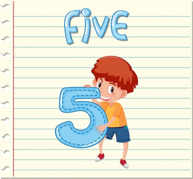Diseño de tarjetas con el número cinco