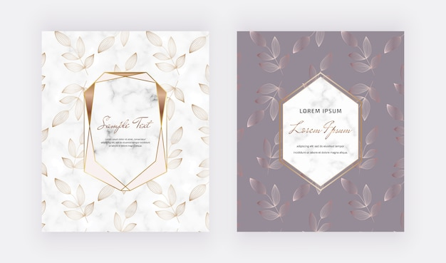 Diseño de tarjetas de portadas con marcos de mármol geométricos dorados y hojas de línea.
