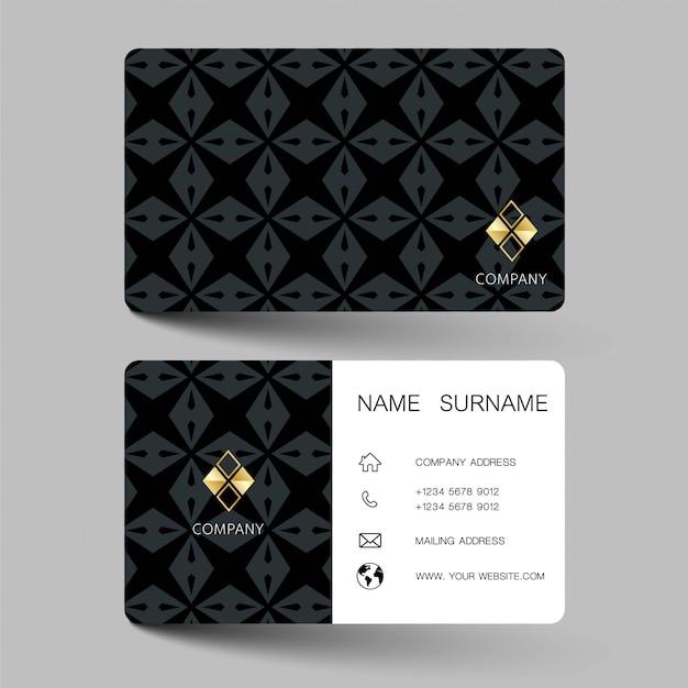 Diseño de tarjetas de visita en blanco y negro.