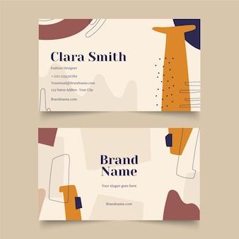 Diseño de tarjetas de visita de formas abstractas dibujadas a mano
