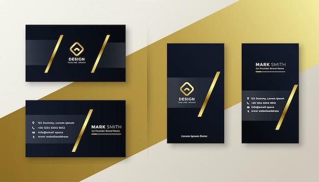 Diseño de tarjetas de visita premium en oro y negro.