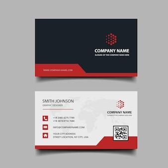 Diseño de tarjetas de visita rojas y negras.