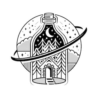 Diseño de tatuaje de alquimia de botella misteriosa