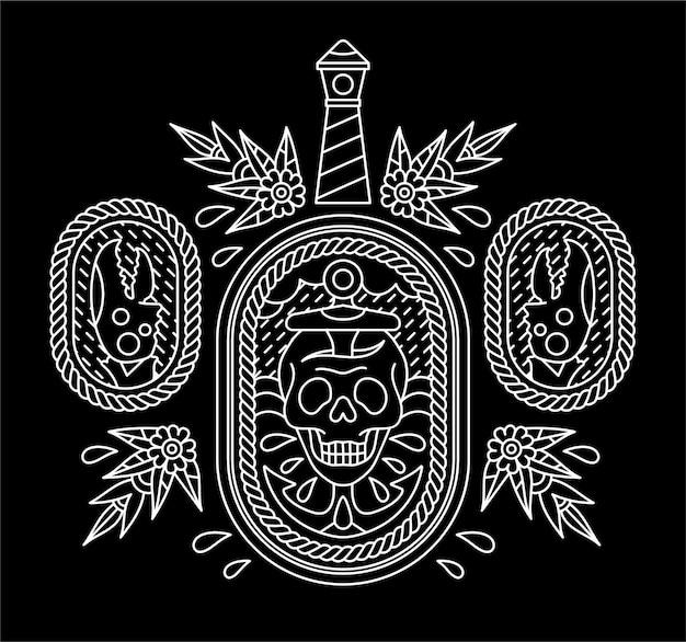 Diseño de tatuaje de calavera marinero.