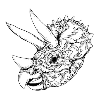 Diseño de tatuaje y camiseta blanco y negro dibujado a mano ilustración adorno de cabeza de triceratops