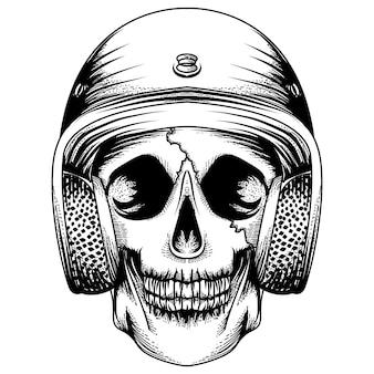 Diseño de tatuaje y camiseta calavera con casco