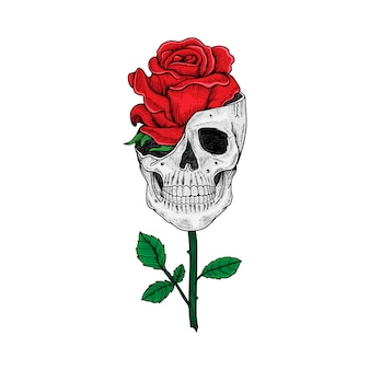 Diseño de tatuaje y camiseta calavera dibujada a mano y rosa premium