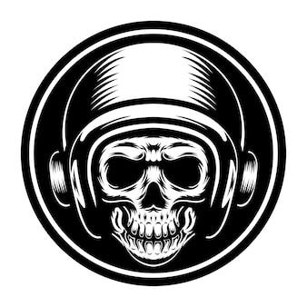 Diseño de tatuaje y camiseta cara de calavera en blanco y negro