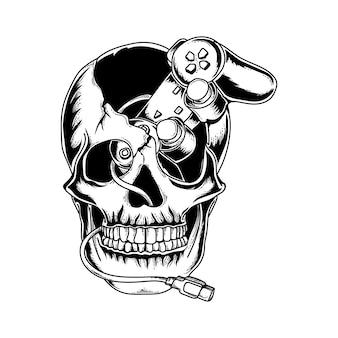 Diseño de tatuaje y camiseta cráneo dibujado a mano en blanco y negro con controlador de juego premium