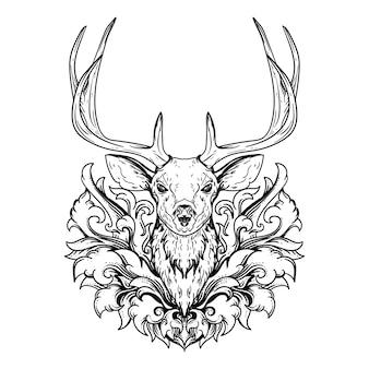 Diseño de tatuaje y camiseta dibujado a mano en blanco y negro ilustración cabeza de ciervo y ornamento de grabado