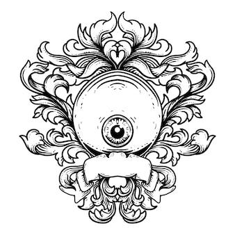 Diseño de tatuaje y camiseta dibujado a mano en blanco y negro ilustración cabeza de gato y ornamento de grabado