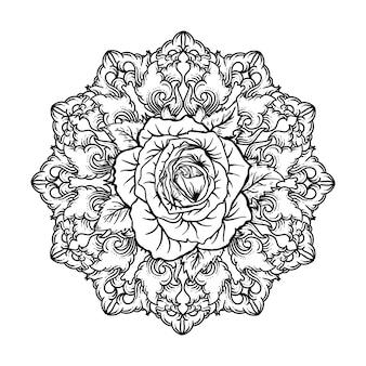 Diseño de tatuaje y camiseta dibujado a mano en blanco y negro ilustración rosa en ornamento de grabado