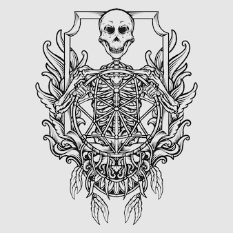 Diseño de tatuaje y camiseta esqueleto dibujado a mano en blanco y negro con adorno grabado atrapasueños
